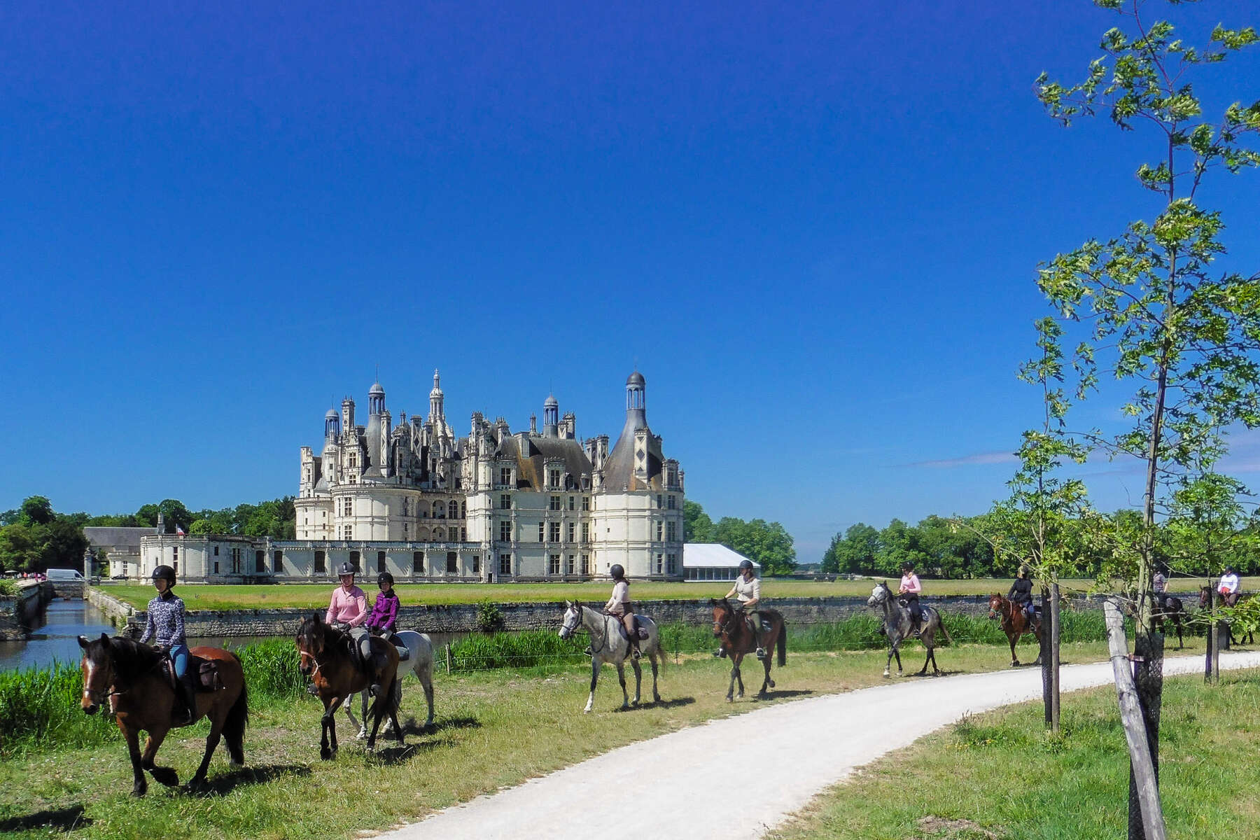 Group of riders riding to Chambord in the Loire Valley