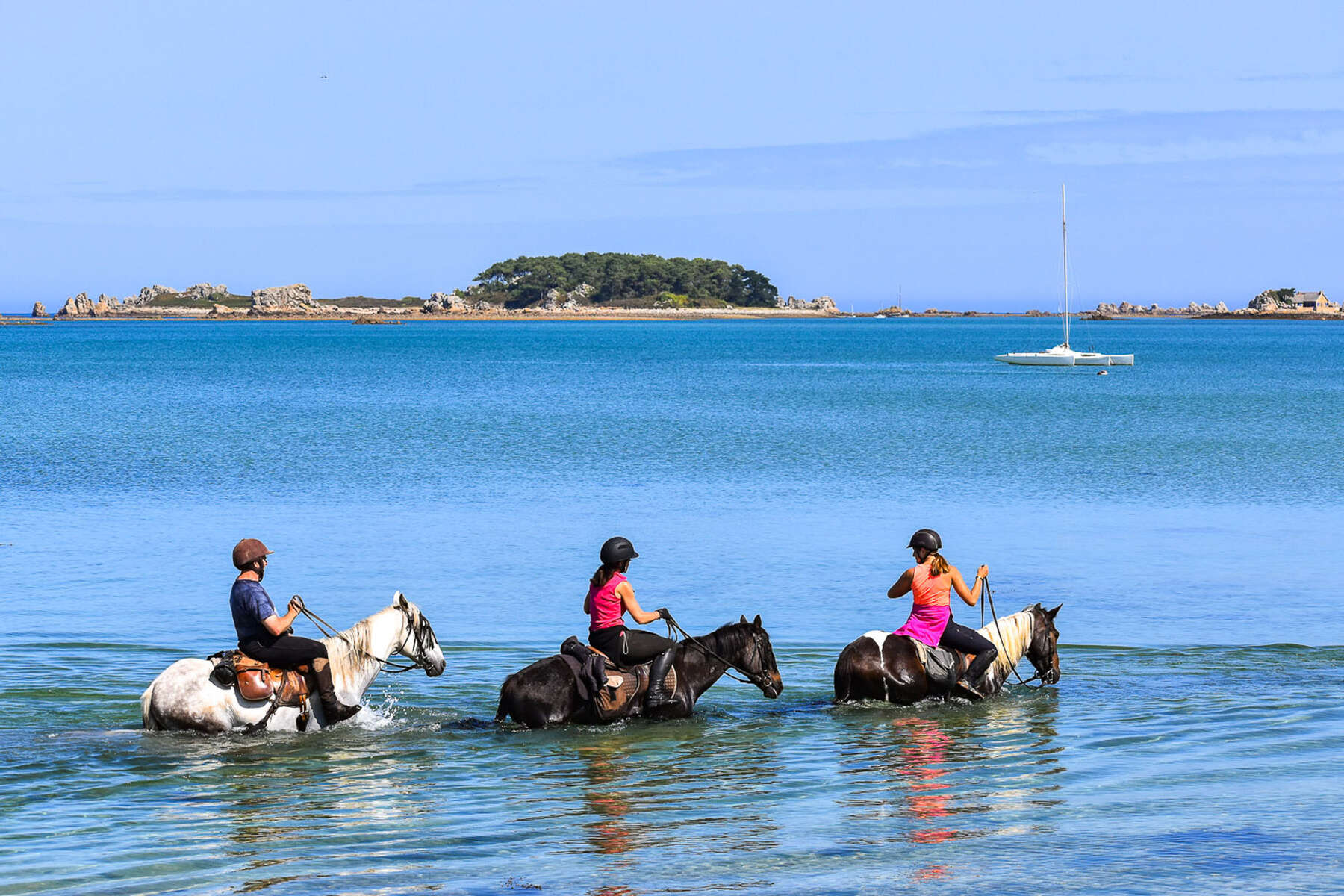 Horses and riders in the ocean in brittany