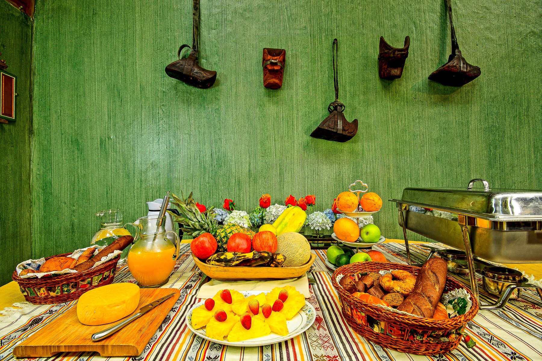 Meal set out for riders on a trail riding holiday in Ecuador