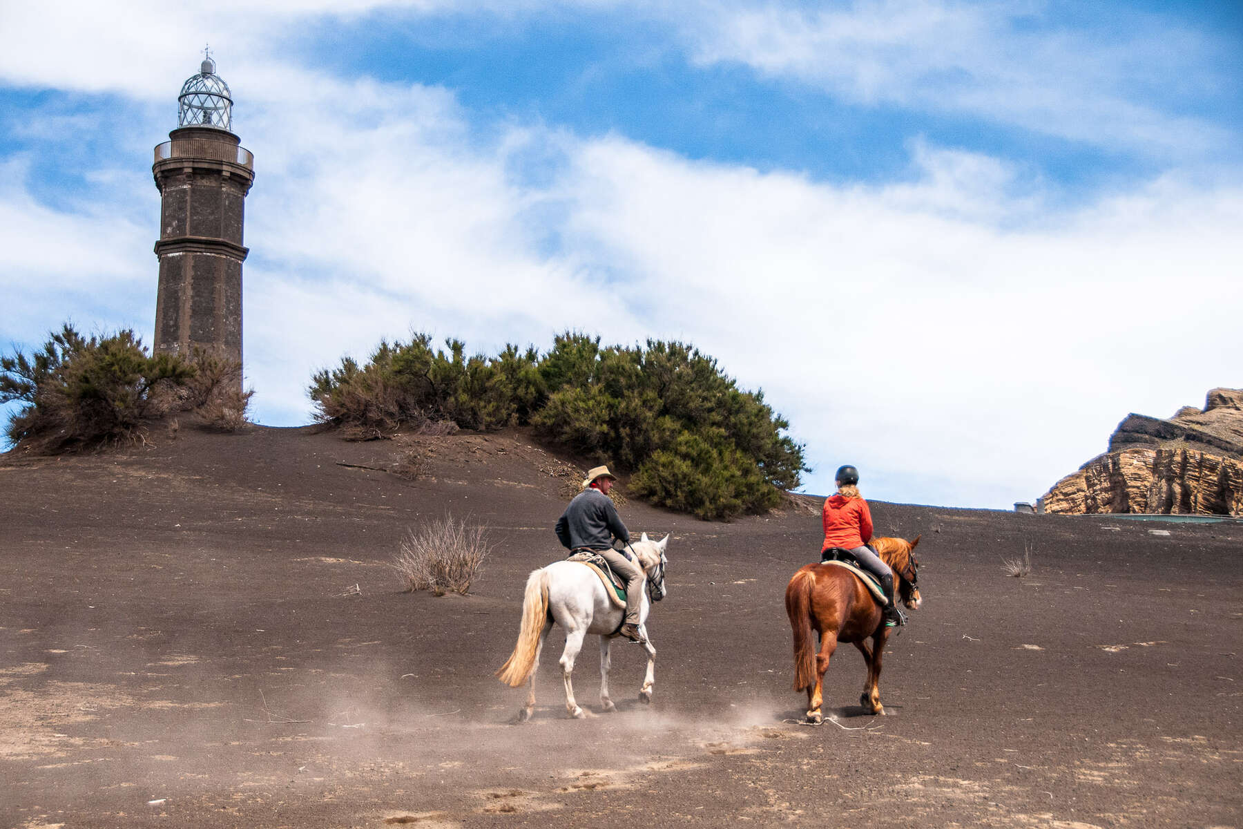 Riders enjoying a short trail to Capelinhos in the Azores