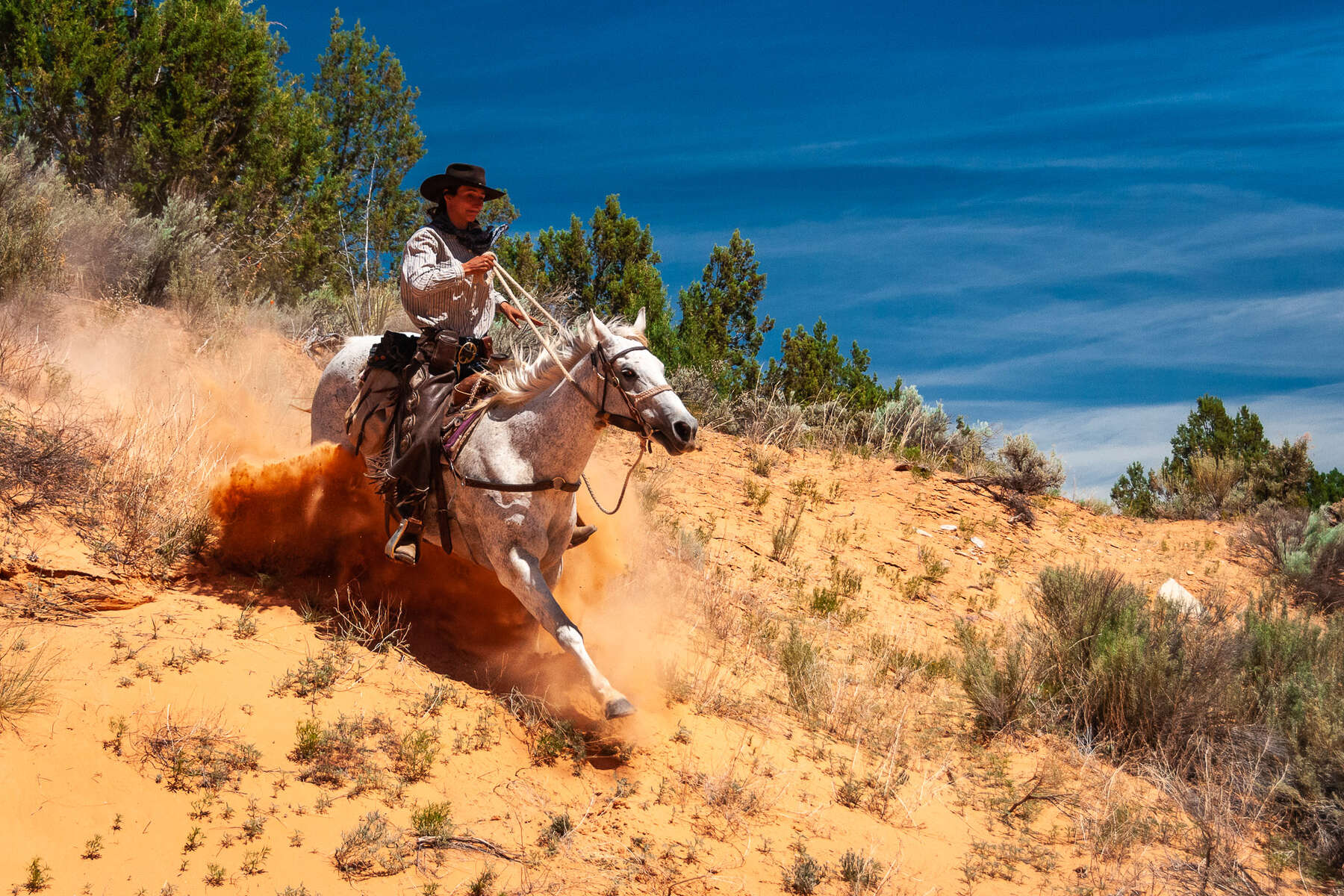 Trail ride through the old Wild West America