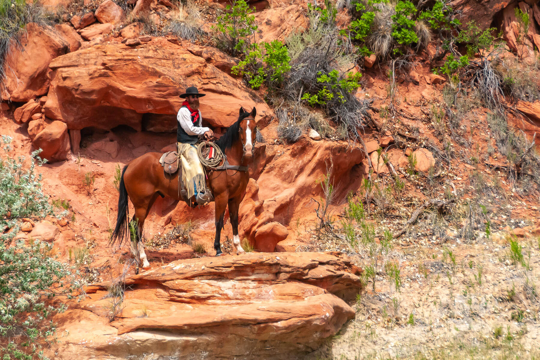Trail riding in the Wild West of America