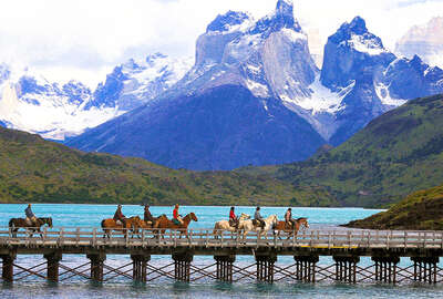 A horseback trail riding in the Torres del Paine
