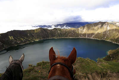 Horse riding trail in the avenue of volcanos