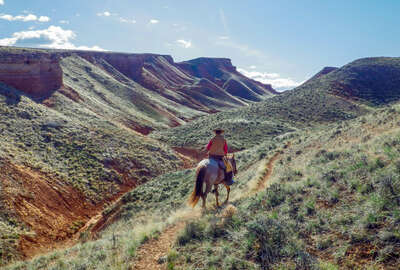 Horseback rider on a trail ride in Wyoming on a ranch holiday