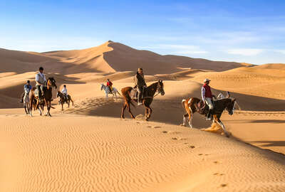 Horseback riders in the Sahara following the trail guide