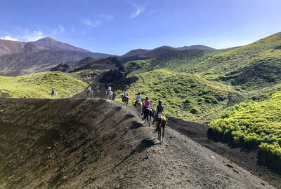 Horseback riders on a trail ride to Mount Etna