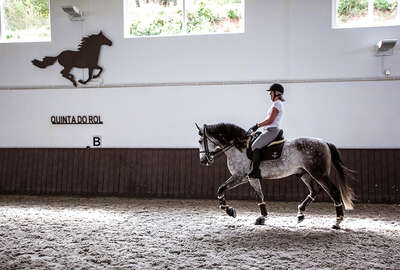 Rider and dressage horse in Portugal