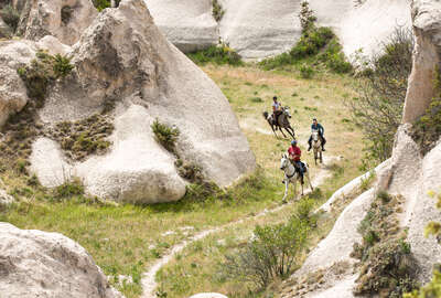 Riders on a fast riding holiday in Cappadocia in Turkey