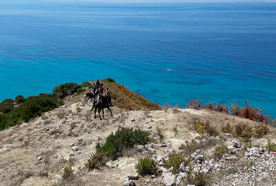 Riders on a mountain trail in Albania