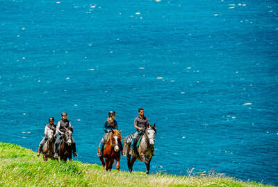 Trail riding by the ocean in the Azores