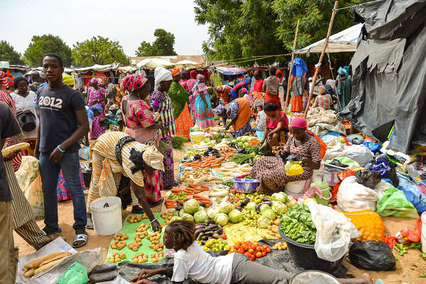 A busy market in Senegal