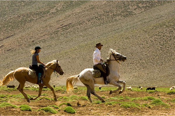 A horseback riding trail between the high and Anti Atlas
