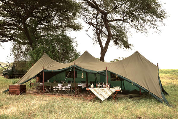 A mess tent ready for lunch in Tanzania