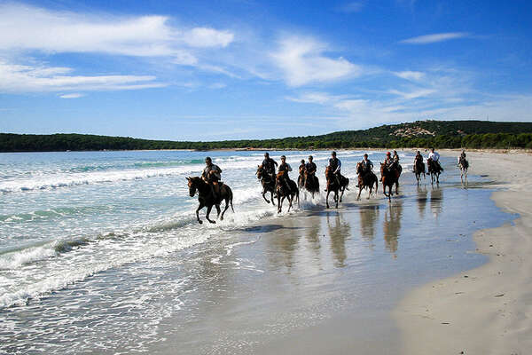 Beach horseback trail ride, Sardinia