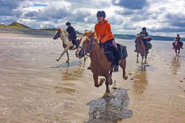 Beach riding in Wales with a nice canter