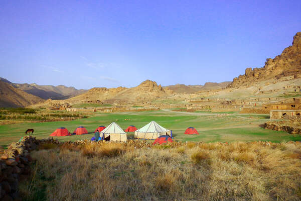Camp in the Atlas mountains in Morocco