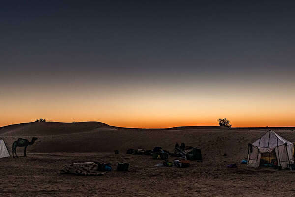 Camp set up in the Sahara for riders on a riding vacation