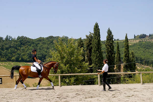 Classical dressage riding holiday  instruction in Italy
