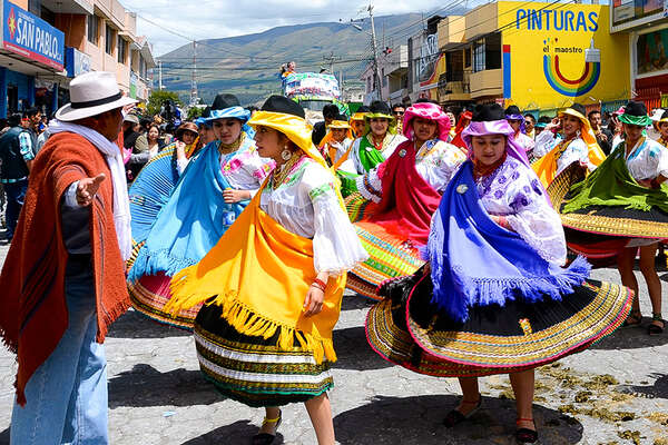 Dancers and Chagras parade Ecuador