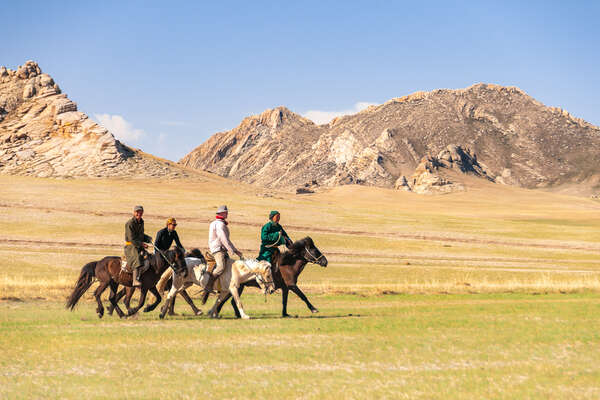 Group of riders in the Gobi in Mongolia