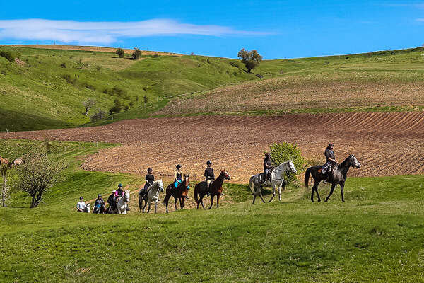 Group of riders in the plains of Bulgaria