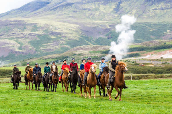 Group of riders riding in Iceland