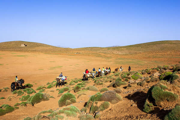 Group of riders riding in Morocco