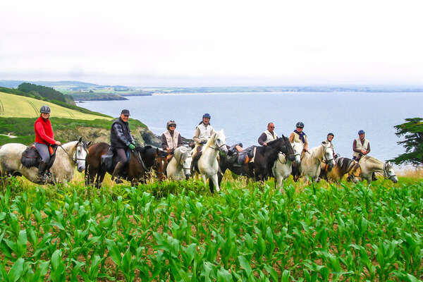 Group photo of riders on a trail riding holiday in Brittany