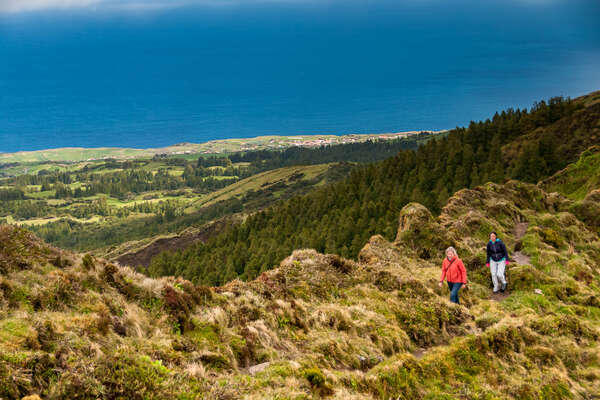 Hikers in the caldera of Faial Island