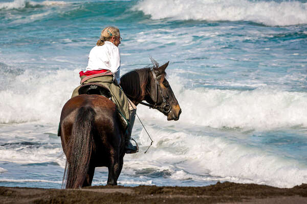 Horse and rider at the beach, Azores