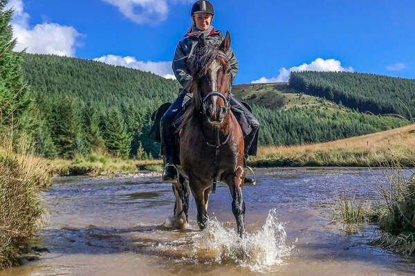 Horse and rider riding in water in Wales