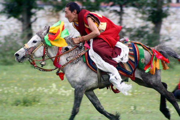 Horse race at Shamalong Festival Tibet