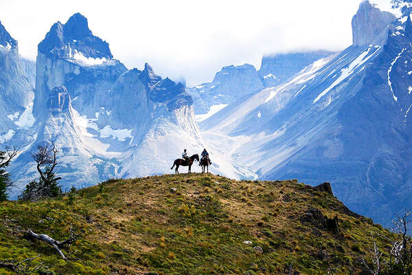 Horse riding trail in chilean patagonia