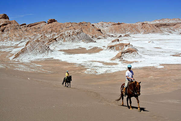 Horse riding trail in the Atacama Desert Chile