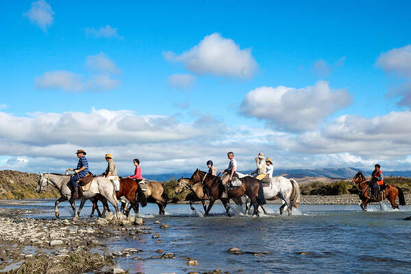Horse trail ride in chilean Patagonia