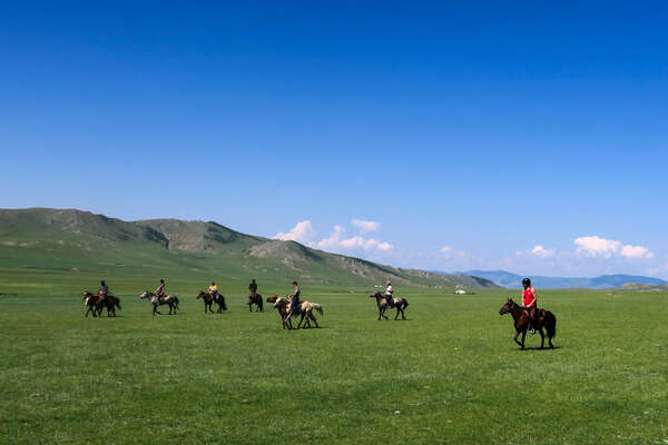 Horseback riders on a riding tour of the Khentii