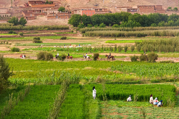Horseback riders riding across a green, fertile valley