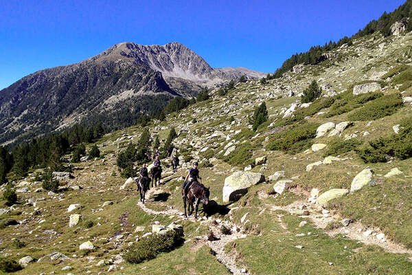 Horseback riding in the pyrenees mountains