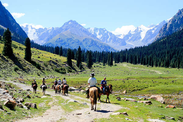 Horseback trail in the mountains of Kyrgyzstan