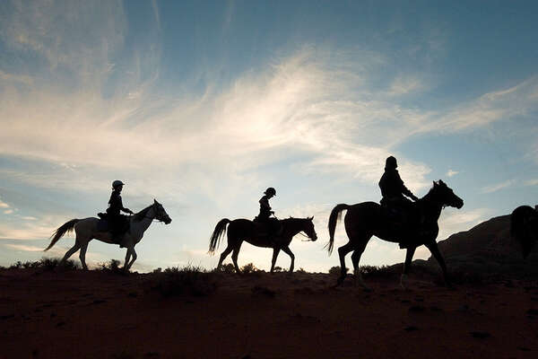 Horses and riders in Jordan