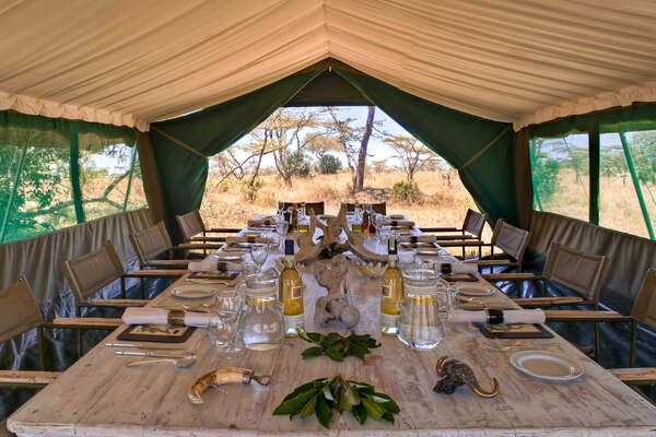 Mess tent on a riding safari with Safari Unlimited in Kenya