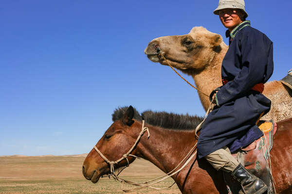 Nomad on horseback in Mongolia and camel in the background