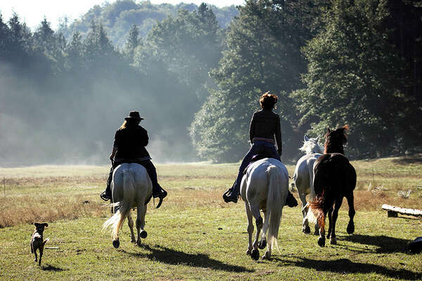 On horseback in tuscan countryside