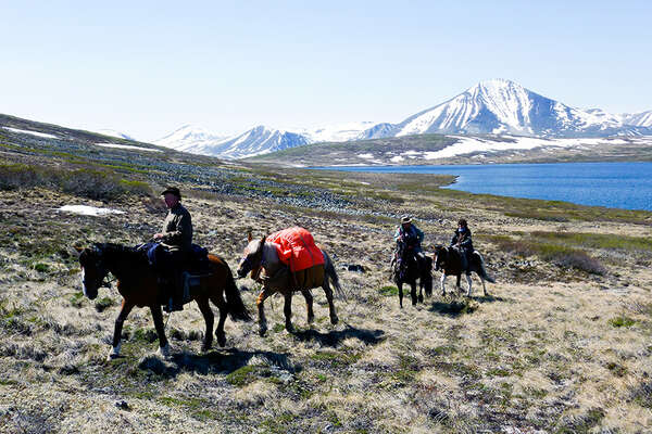 Pack trip in the wild Yukon Canada