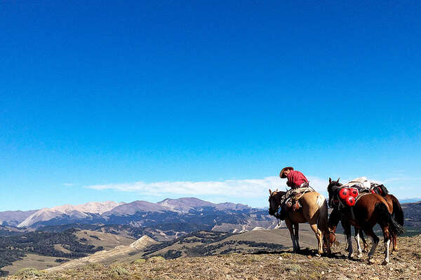 Pack trip on horseback in Southern America