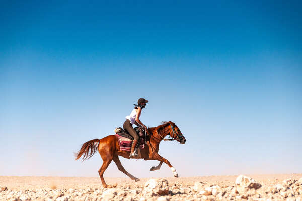 Rider and her horse galloping in Namibia