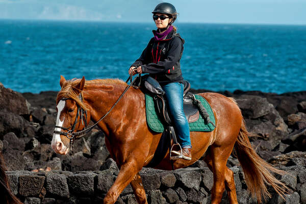 Rider and horse in the Azores