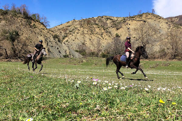 Rider cantering in Albania on a trail ride