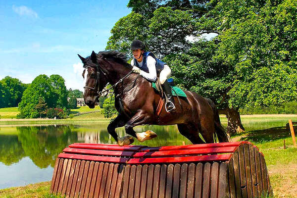 Rider cross-country riding at Castle Leslie